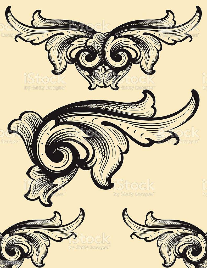 Engraving Swirls scrollwork royalty-free stock vector art