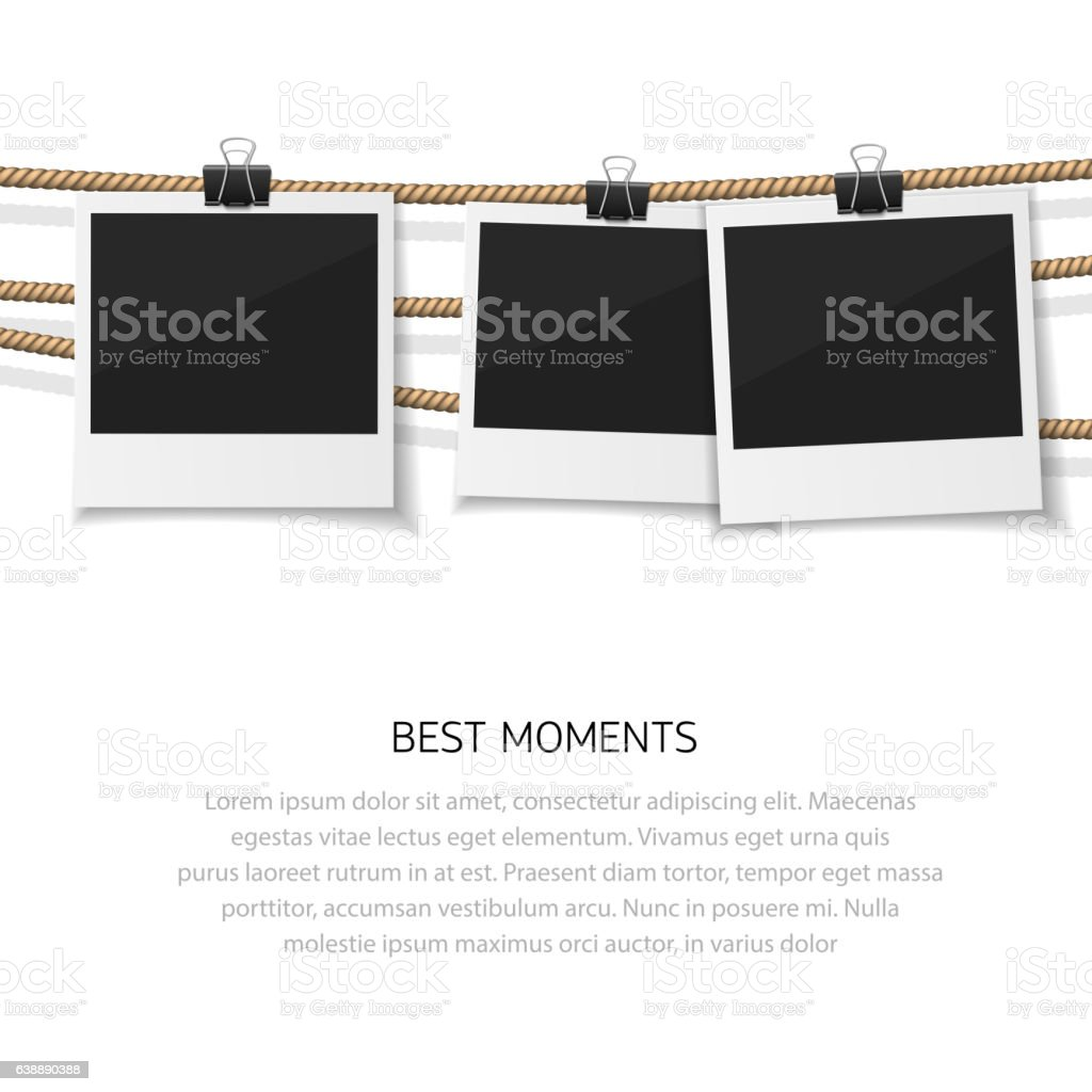 Enjoy every moment. Set of vector  photo hanged on rope vector art illustration