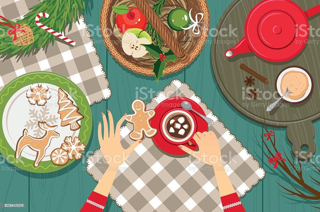 Enjoy hot chocolate vector art illustration