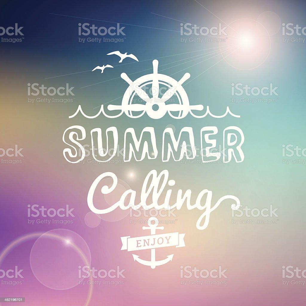 Enjoy Summer calling vector vintage poster royalty-free stock vector art