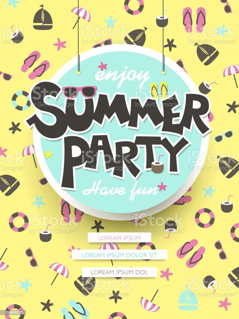 enjoy summer party poster vector art illustration
