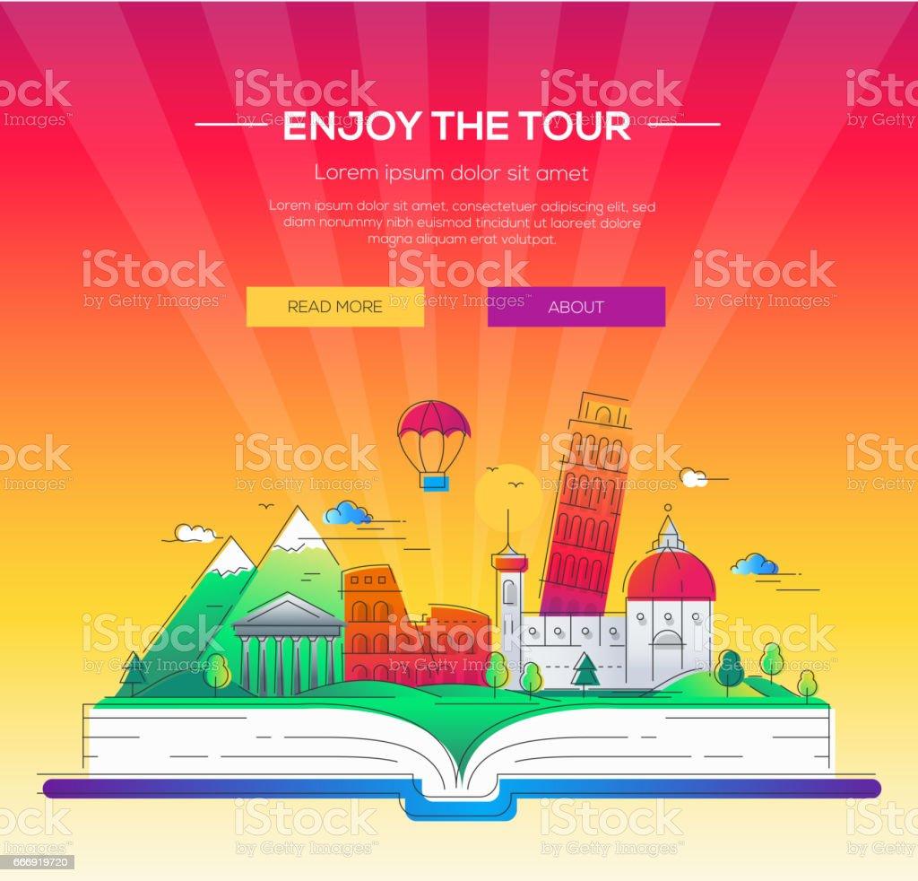 Enjoy the tour - vector line travel illustration vector art illustration