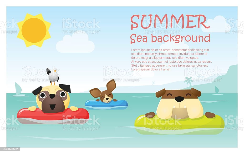 Enjoy tropical summer holiday with little dog 2 vector art illustration