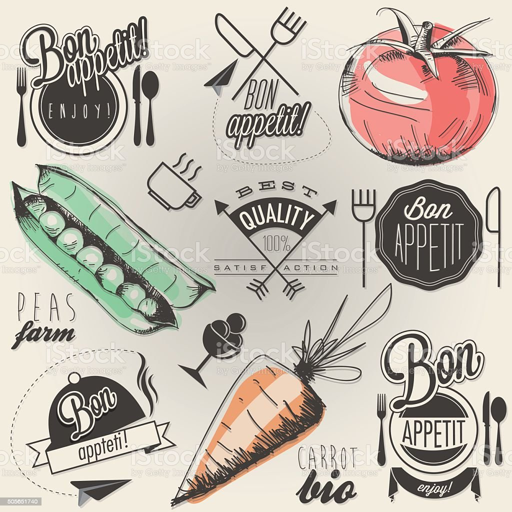 Enjoy your meal vector art illustration