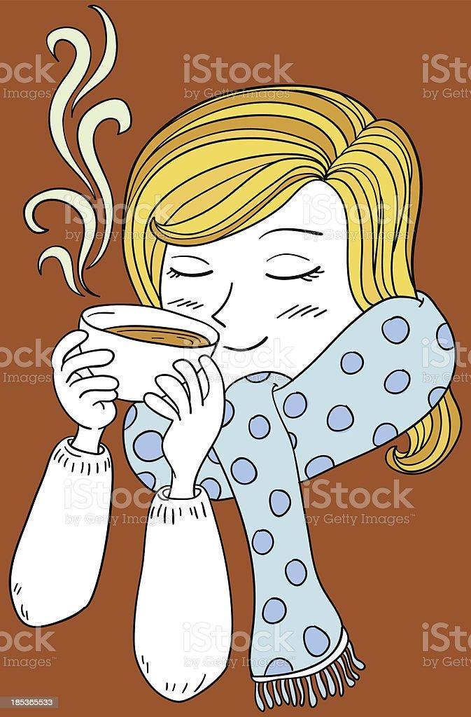 Enjoying coffee - color Illustration royalty-free stock vector art