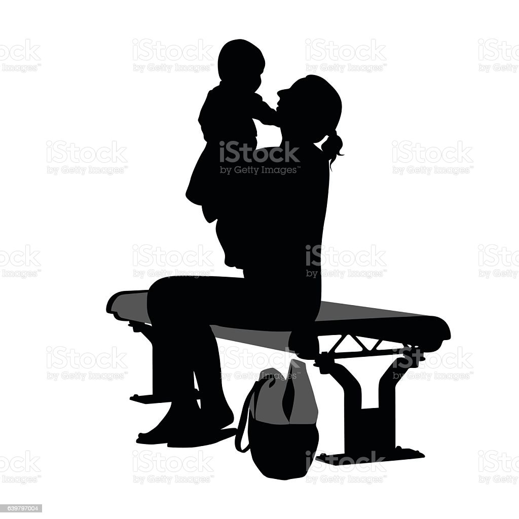 Enjoying The Park With Her Child Vector Silhouette vector art illustration