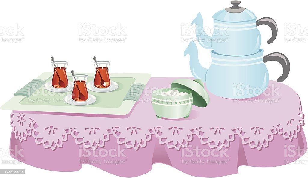 Enjoyment of tea vector art illustration
