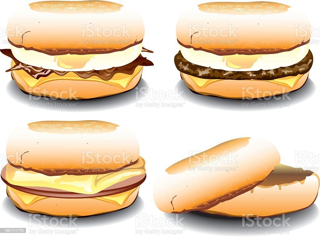 Enlish Muffin breakfast sandwiches vector art illustration