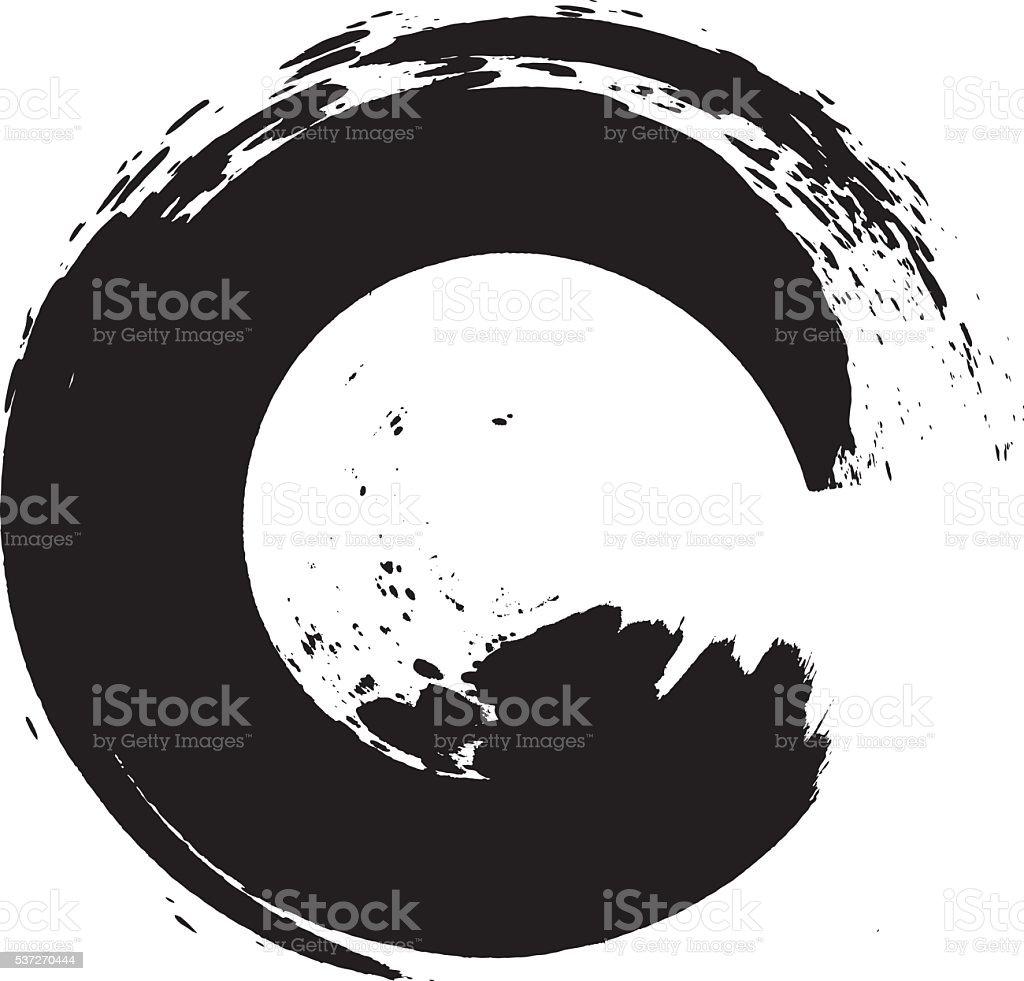 Enso – Circular brush stroke (Japanese zen circle calligraphy n°5) vector art illustration