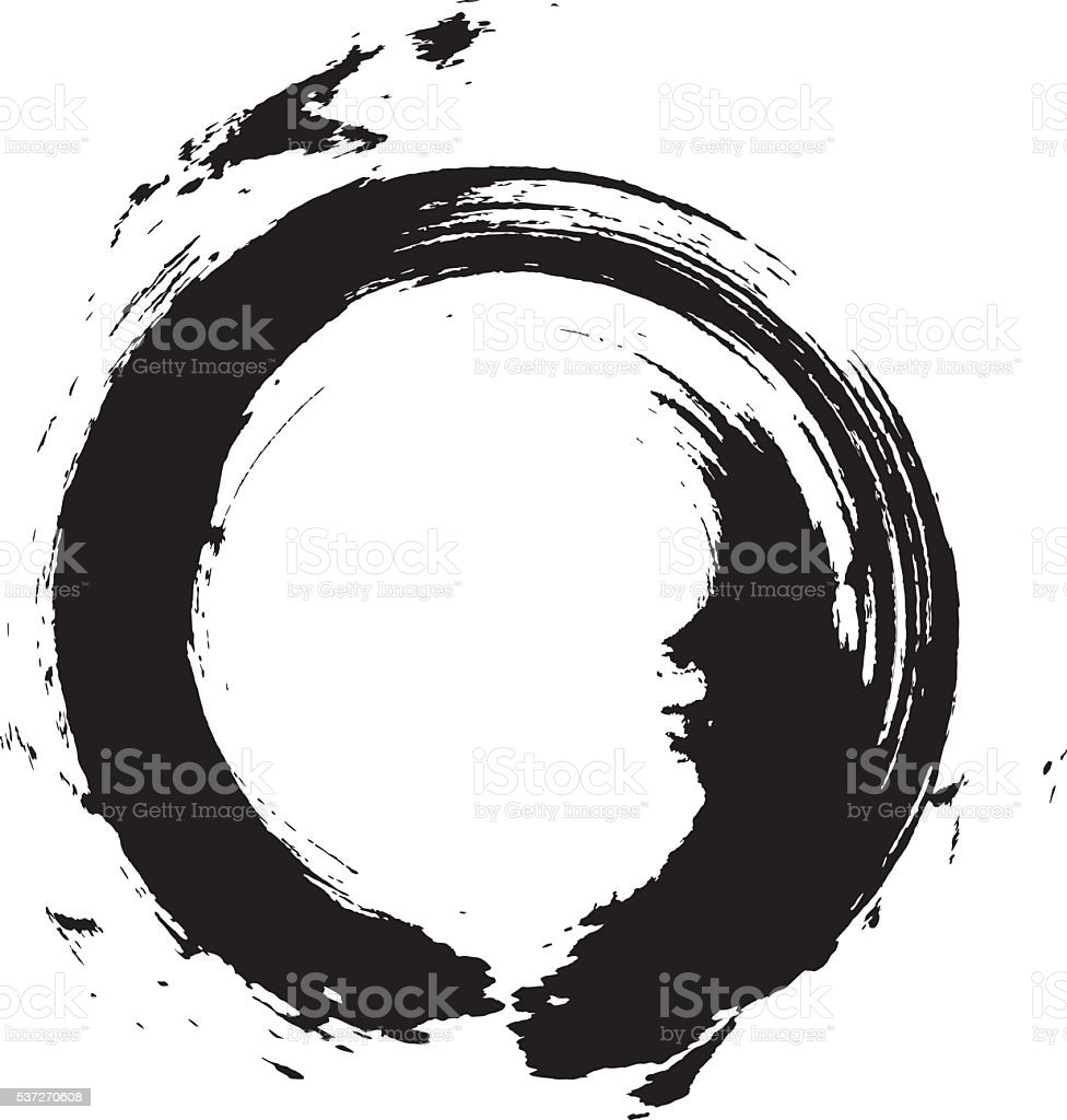 Enso – Circular brush stroke (Japanese zen circle calligraphy n°6) vector art illustration