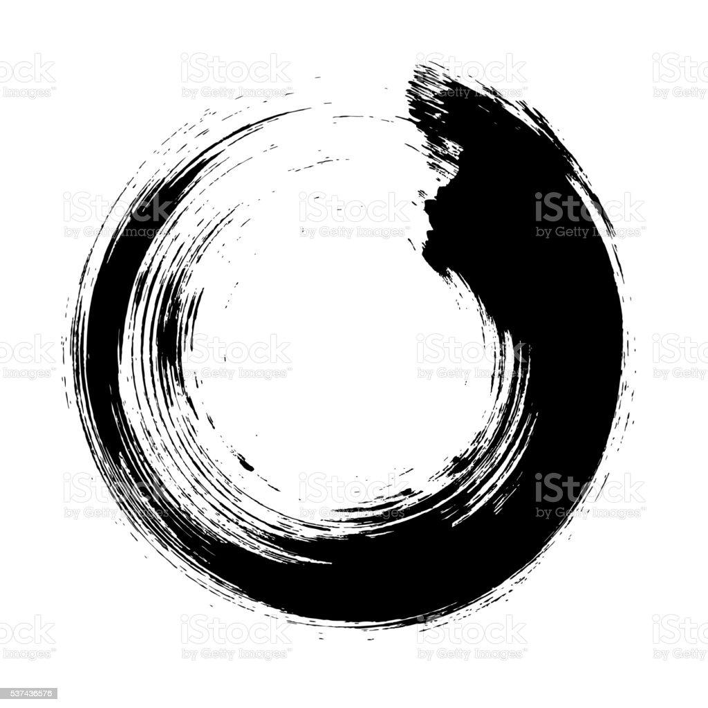 Enso – Circular brush stroke (Japanese zen circle calligraphy n°10) vector art illustration