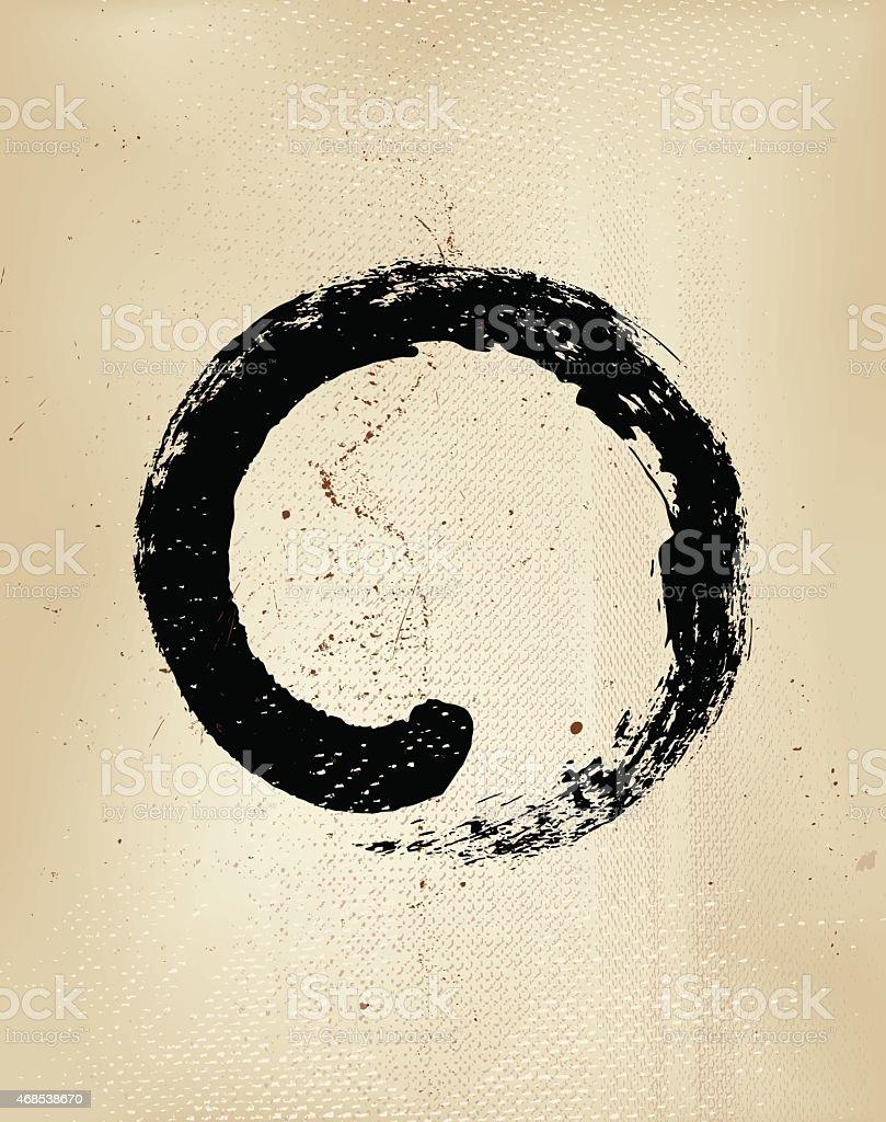 Enso grunge style – Japanese zen circle calligraphy vector art illustration