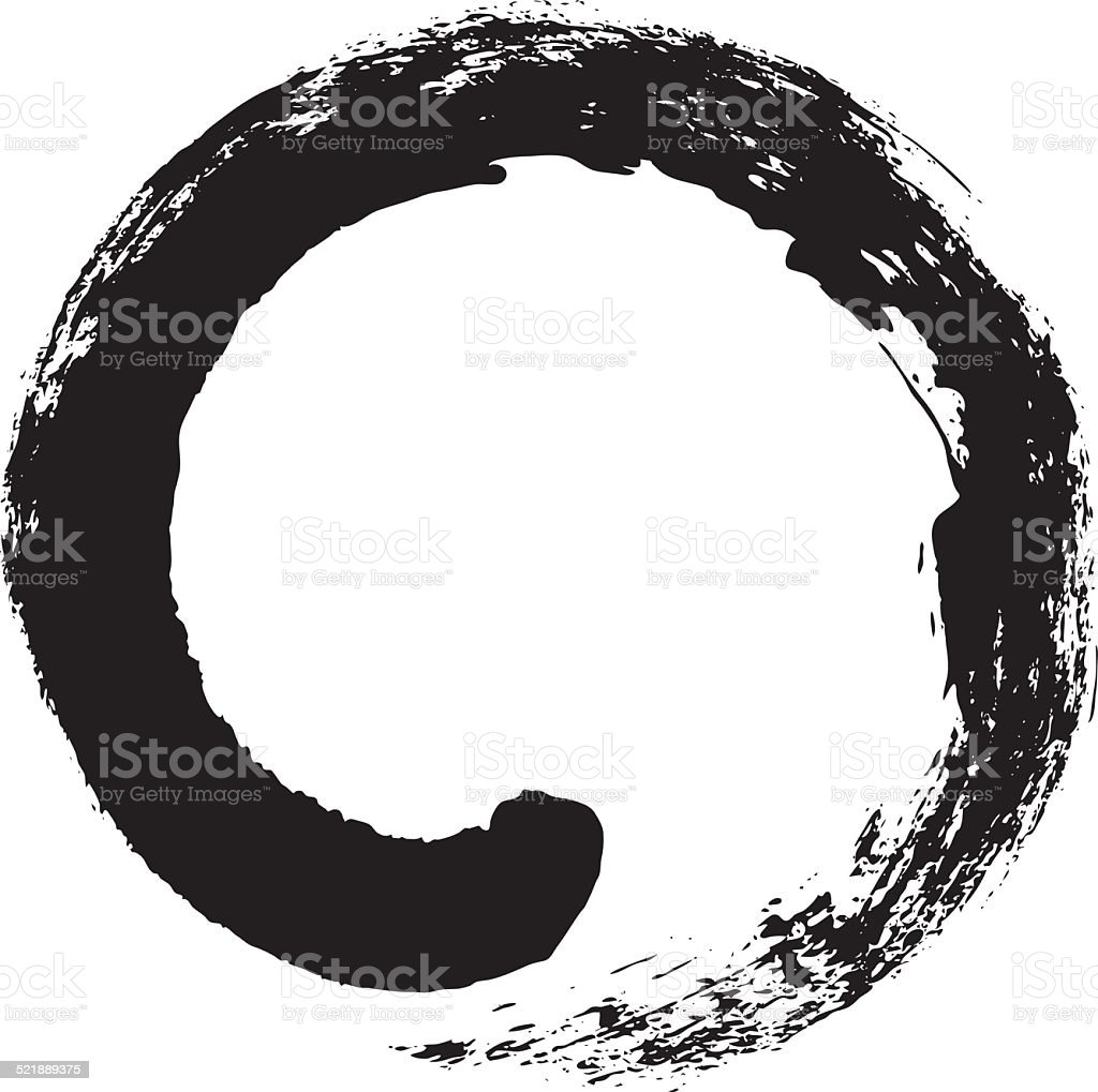 Enso – Japanese zen circle calligraphy vector art illustration