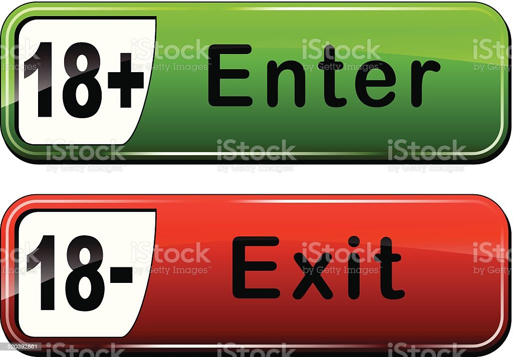 enter and exit web buttons vector art illustration