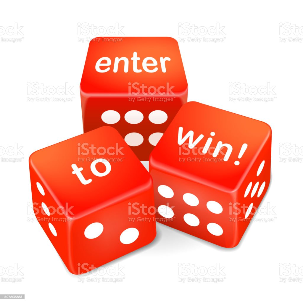 enter to win words on three red dice vector art illustration