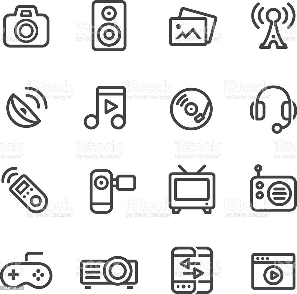 Entertainment and Media Icons vector art illustration