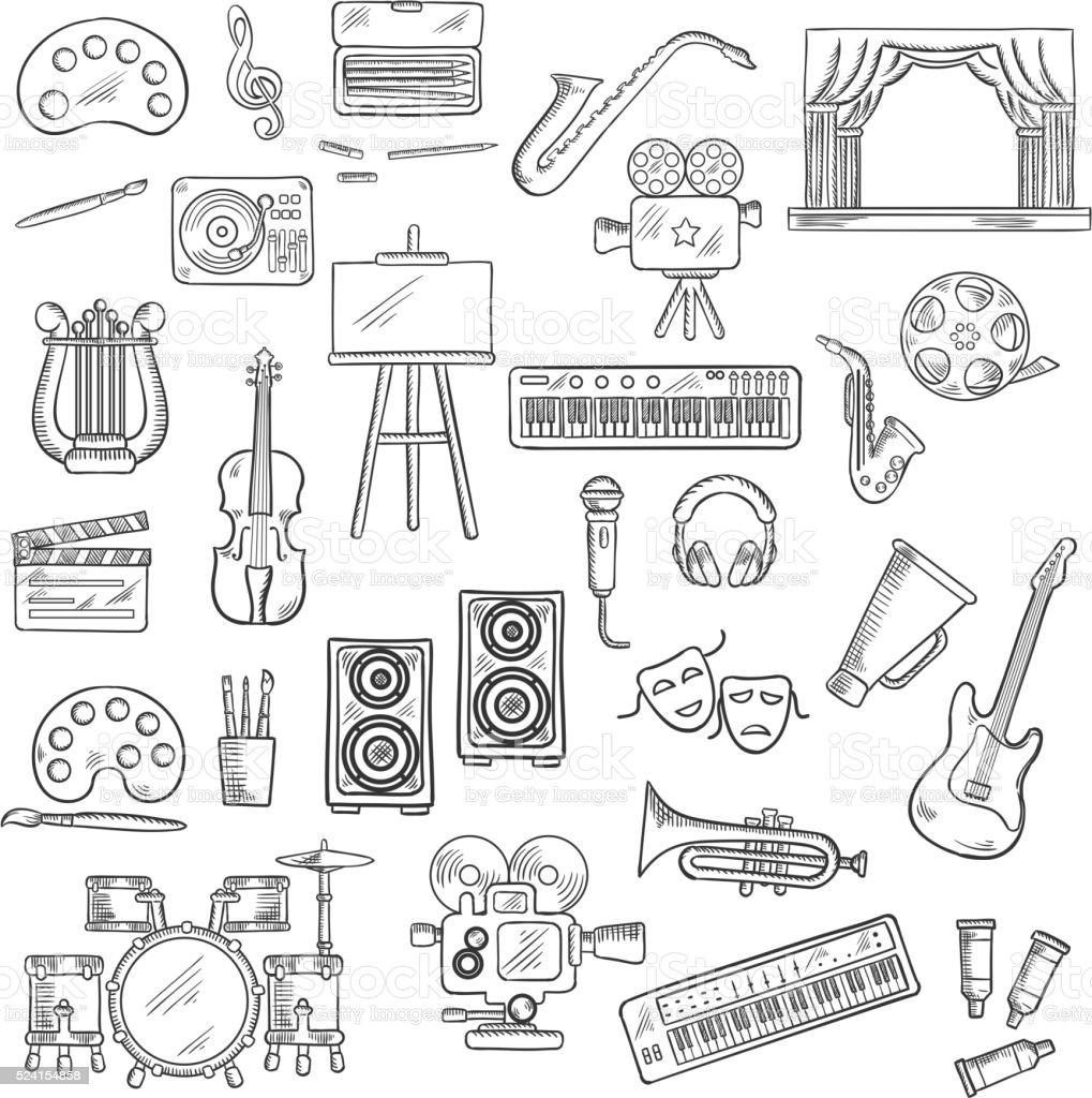Entertainment and visual arts sketch icons vector art illustration