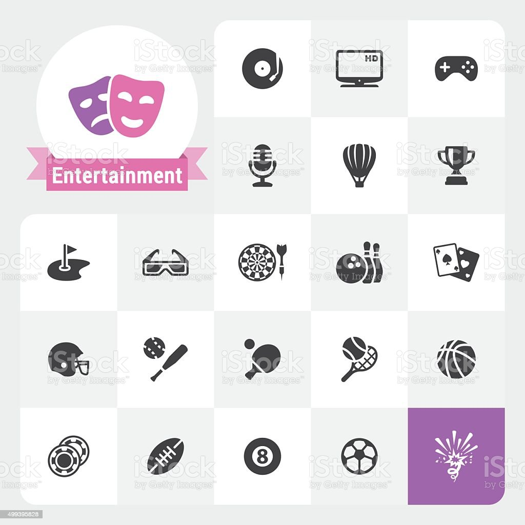 Entertainment base vector icons and label vector art illustration