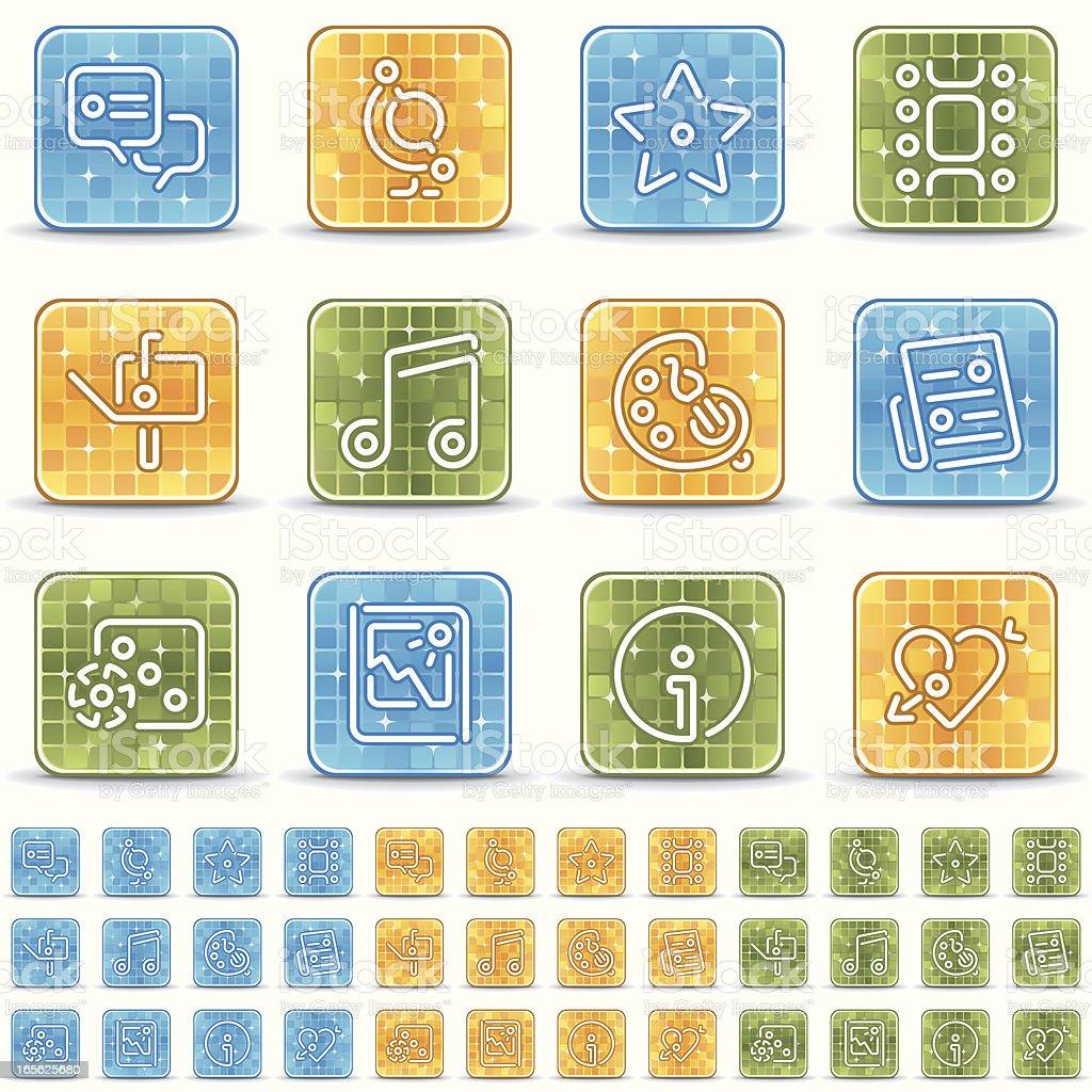 entertainment icons - brillante cuadrado royalty-free stock vector art