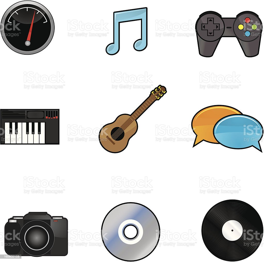 Entertainment Icons vector art illustration