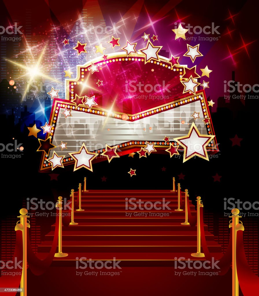 Entertainment - Red Carpet with Marquee Display royalty-free stock vector art