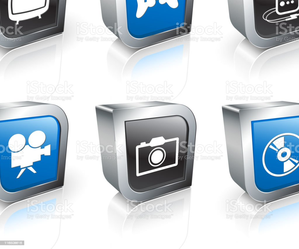 entertainment square royalty free vector icon set royalty-free stock vector art