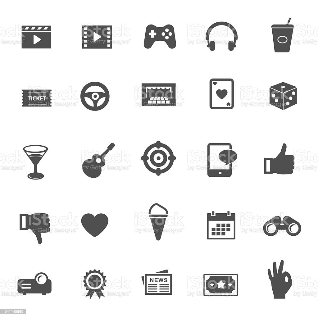 Entertainment vector icons vector art illustration
