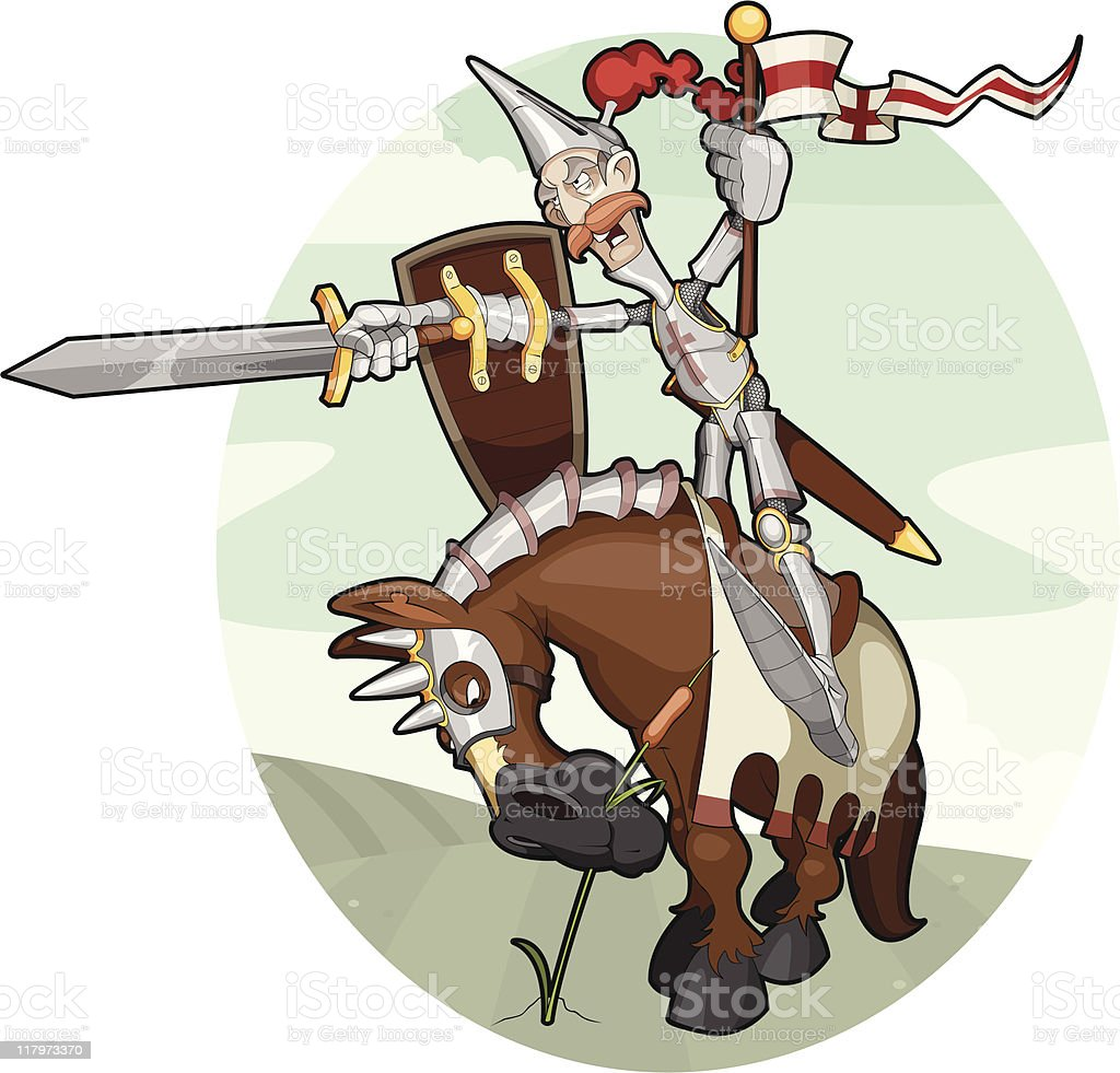 Enthusiastic Knight vector art illustration