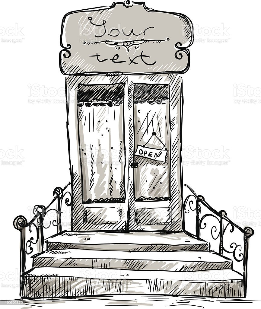 Fenster bleistiftzeichnung  Eingangstür Shopfenster Zeichnung Vektor Illustration 450506379 ...