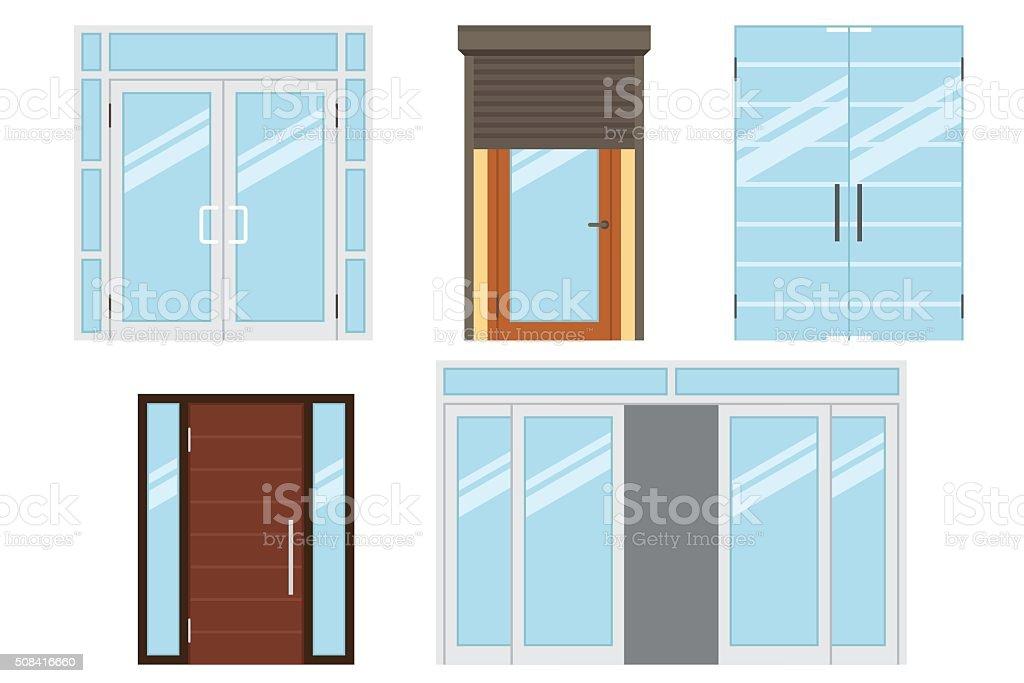 Entrance doors vector art illustration