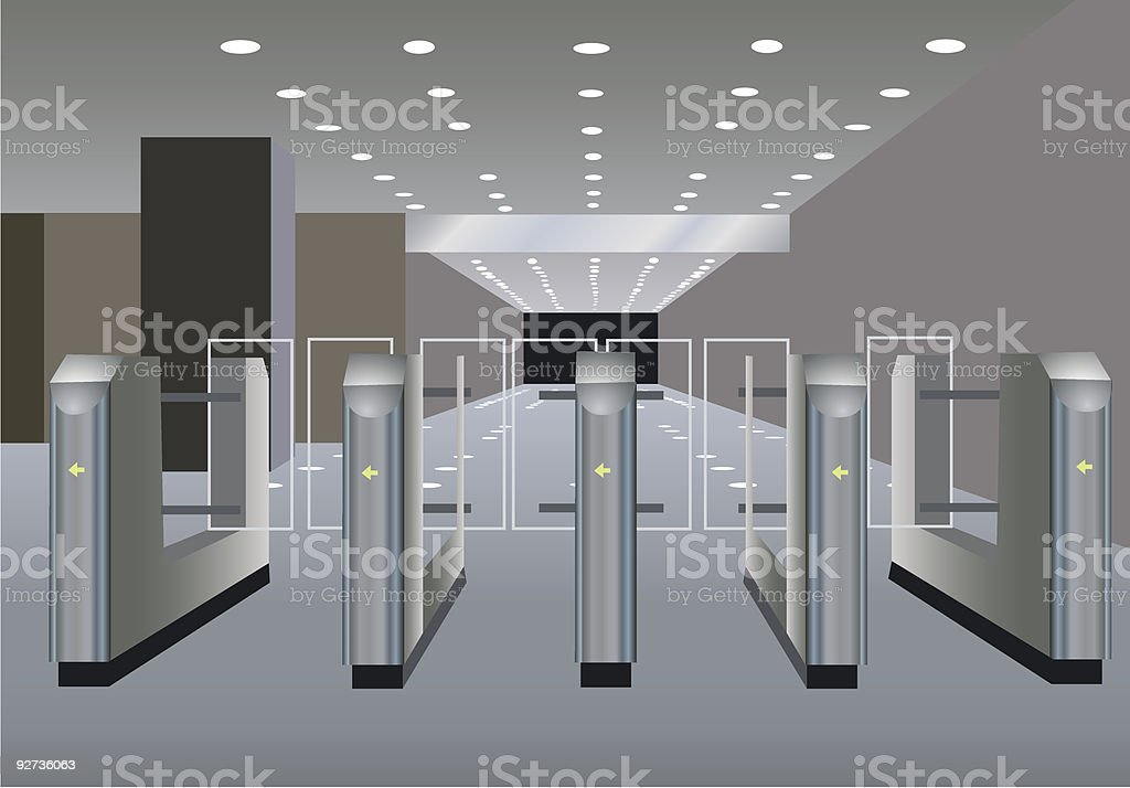 Entrance through turnstiles into area with lighting overhead vector art illustration