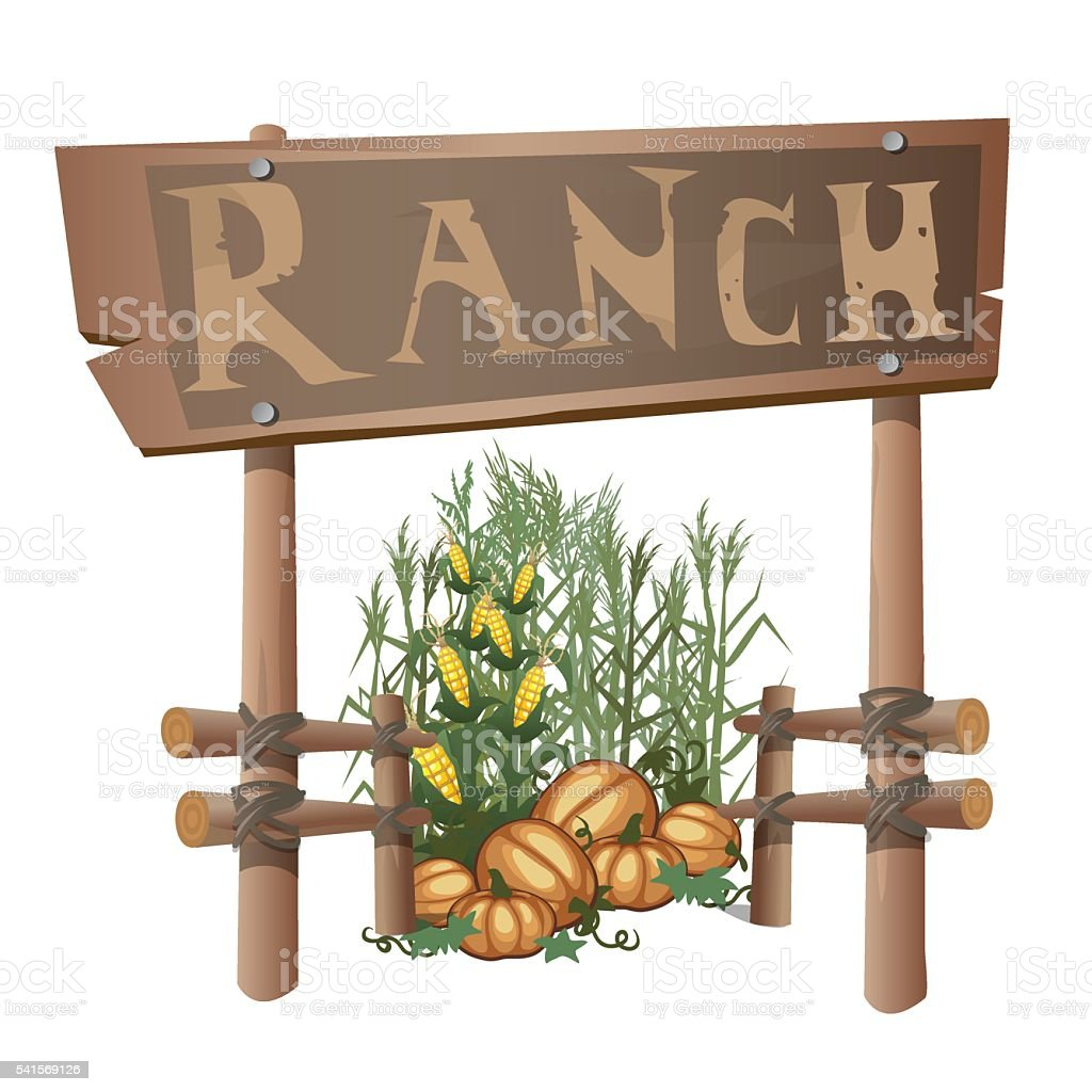 Entrance to ranch, harvest of corn and pumpkins vector art illustration