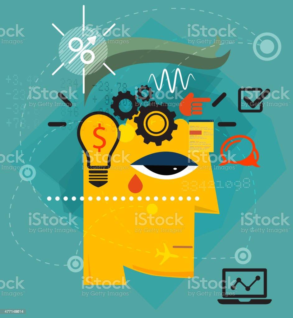 Entrepreneur - Inside Investor's Mind vector art illustration