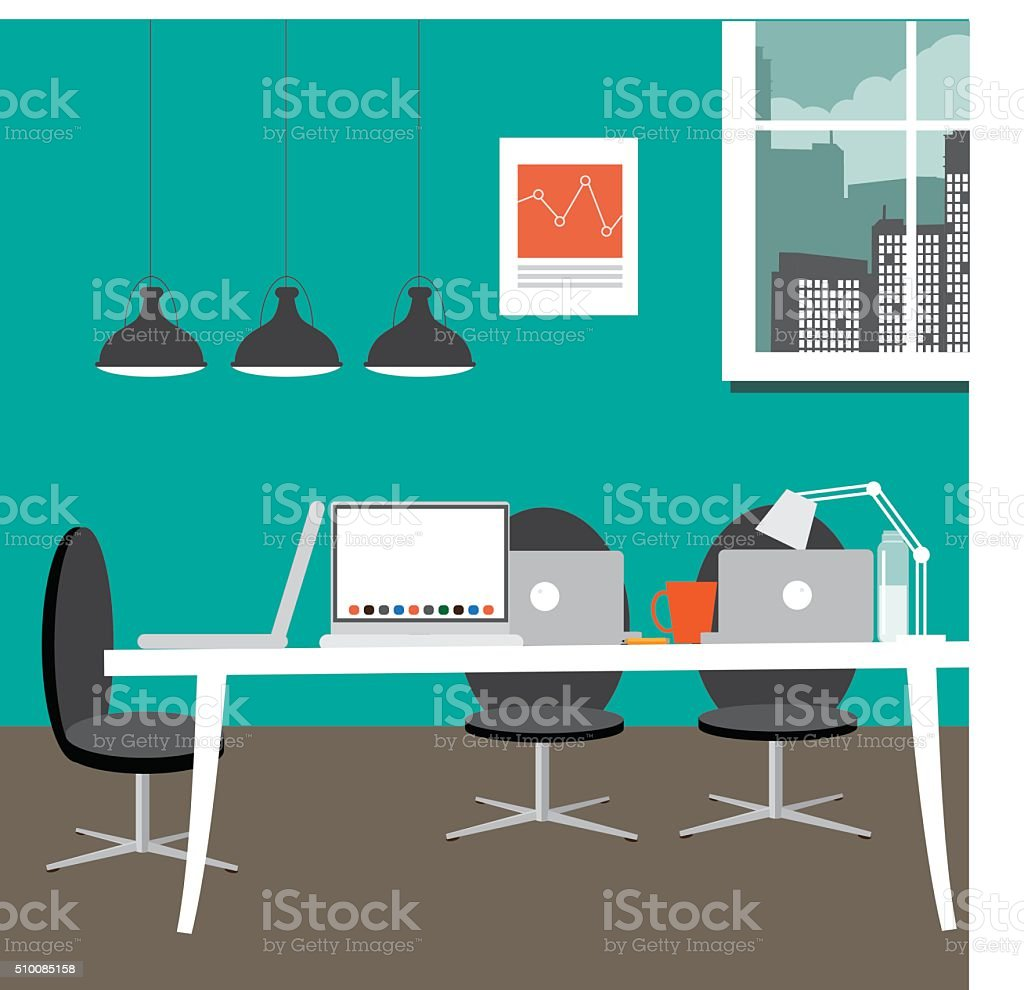 Entrepreneurial workspace in flat design style vector art illustration