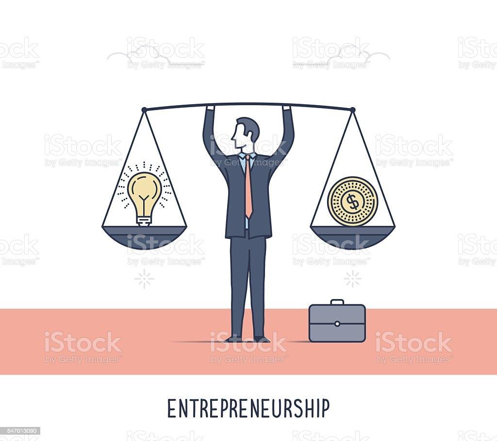 Entrepreneurship in Action vector art illustration