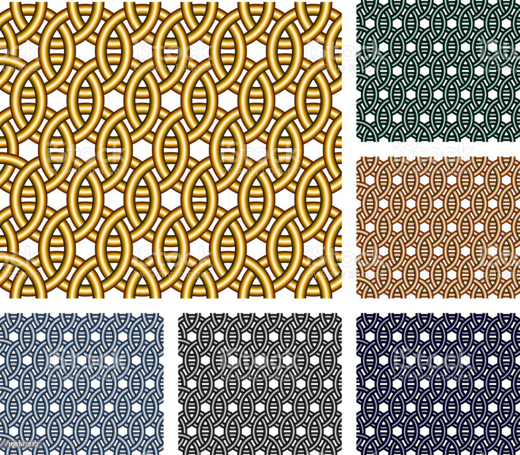 Entwined metal rings. Seamless patterns. vector art illustration
