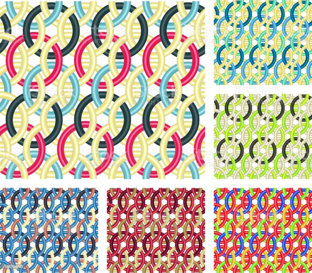 Entwined rings. Seamless patterns. vector art illustration
