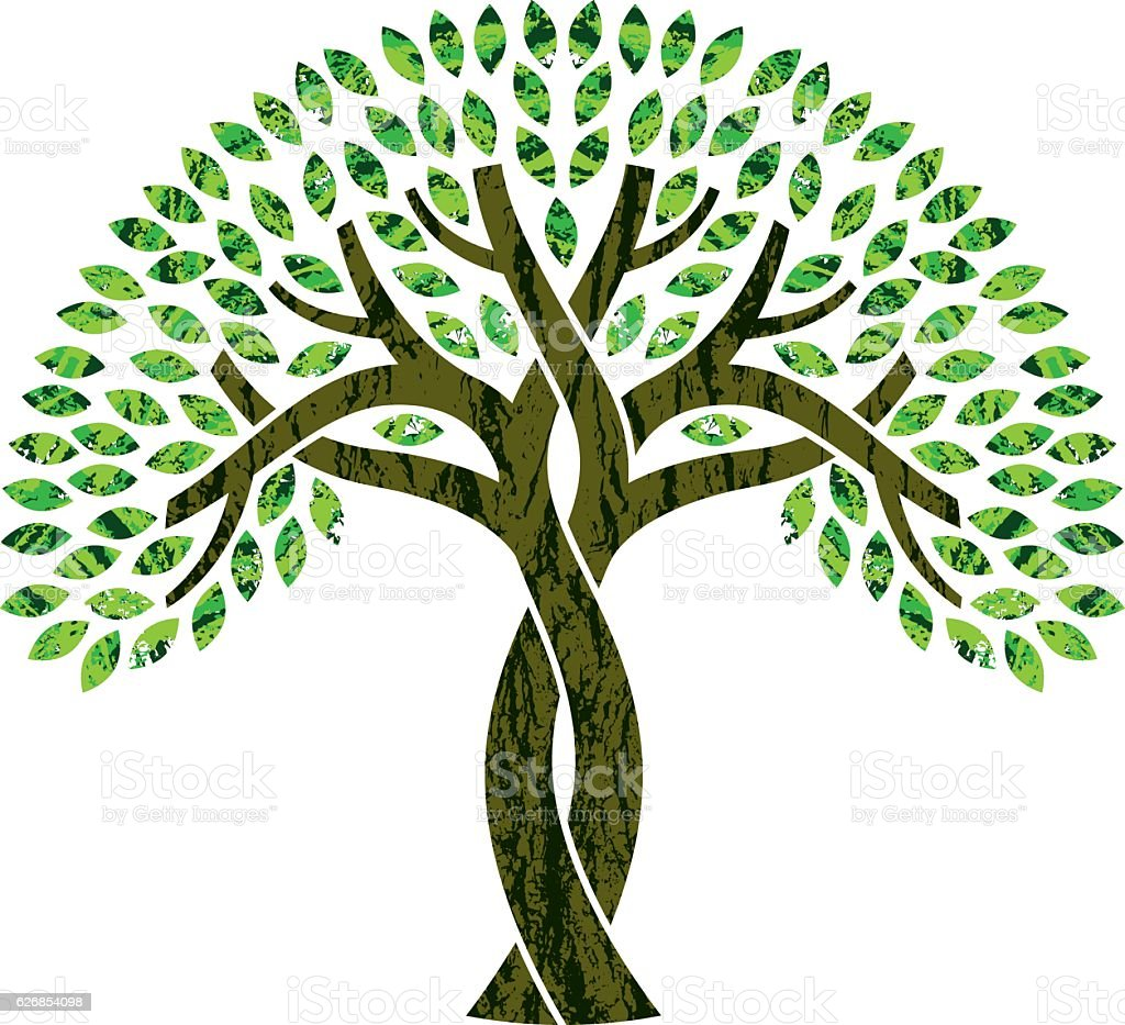 Entwined tree symbol illustration vector art illustration