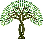 Entwined tree symbol illustration