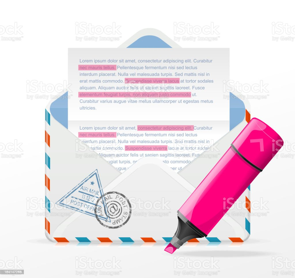 Envelope and marker royalty-free stock vector art