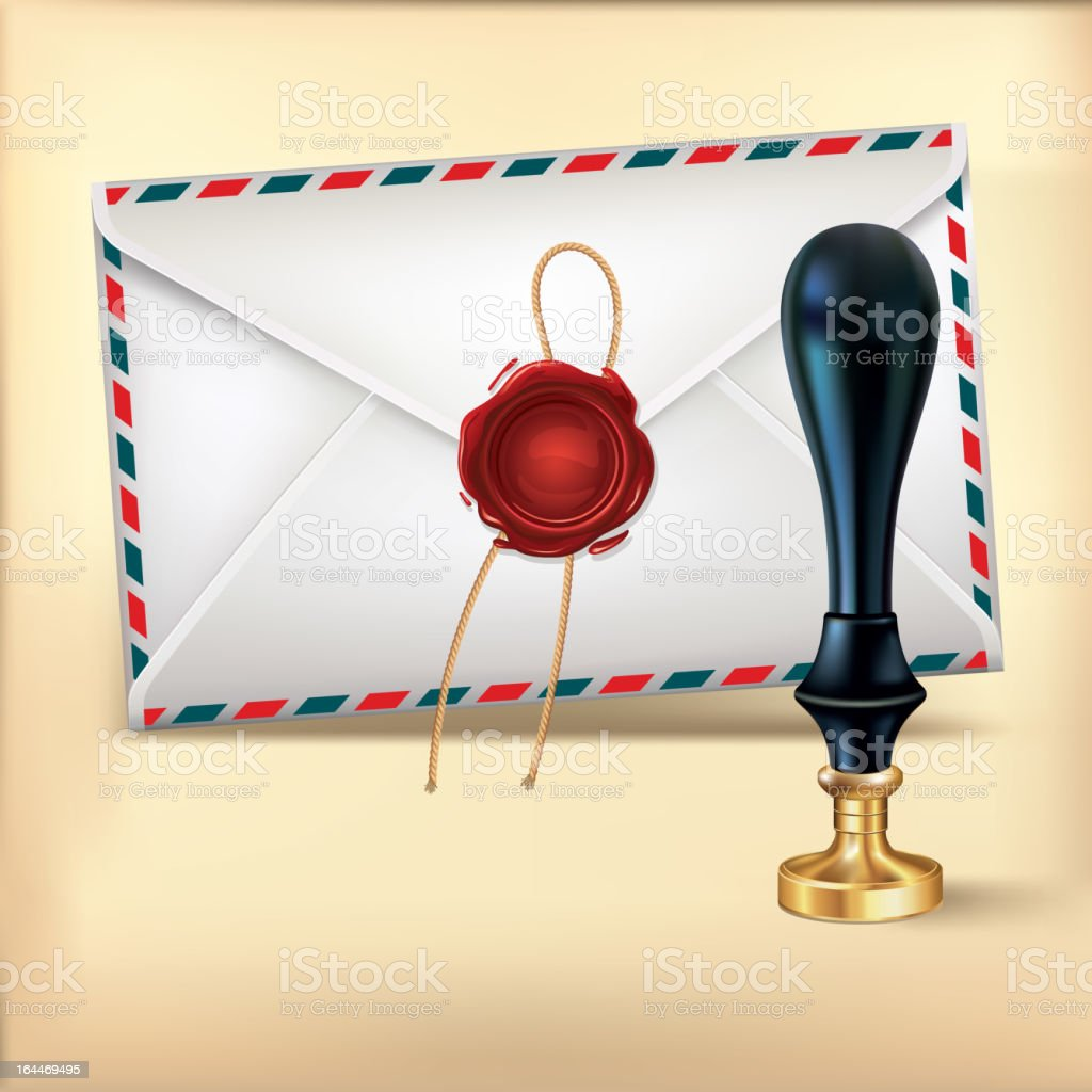 Envelope and Wax seal stamp. royalty-free stock vector art