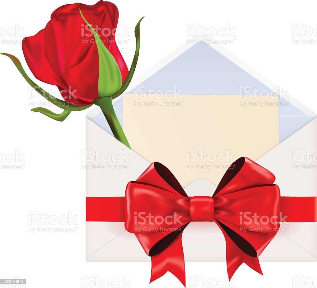 Envelope decorated  with red ribbon bow and red rose vector art illustration