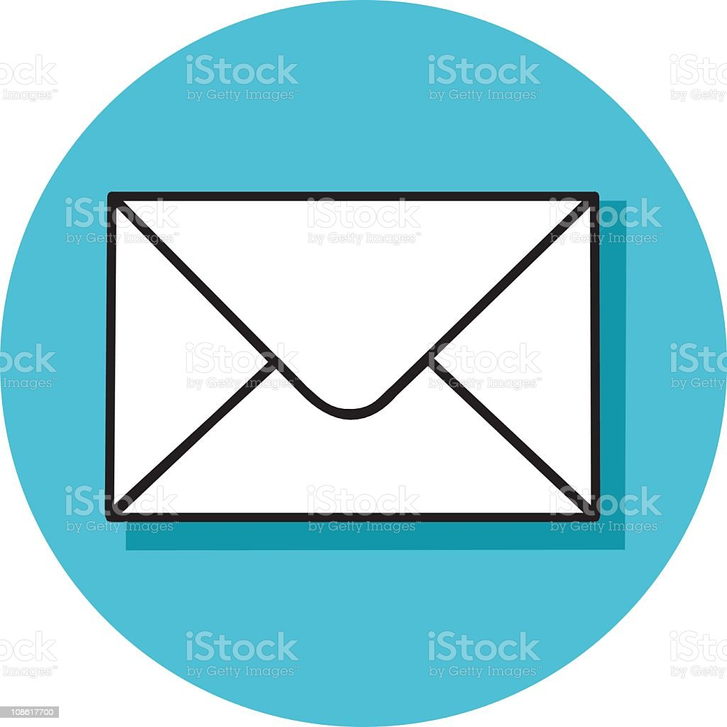 Envelope icon on circular light blue background royalty-free stock vector art