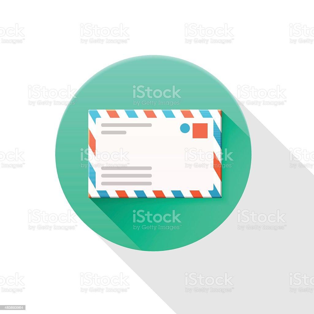 Envelope icon on white background. vector art illustration