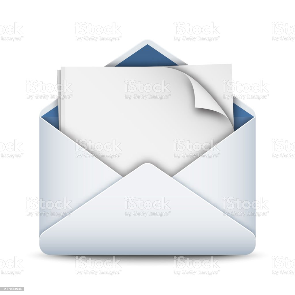 Envelope icon with a empty sheet of paper vector art illustration