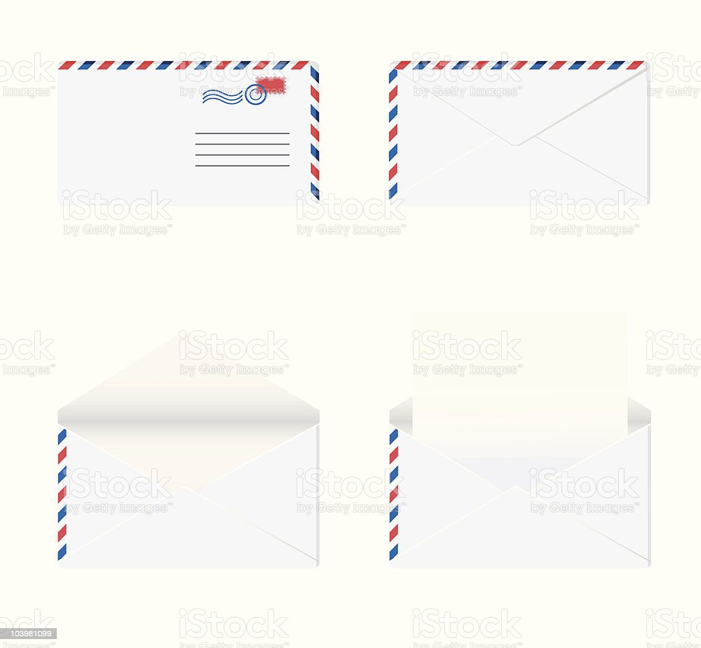 Envelope in 4 stages. royalty-free stock vector art
