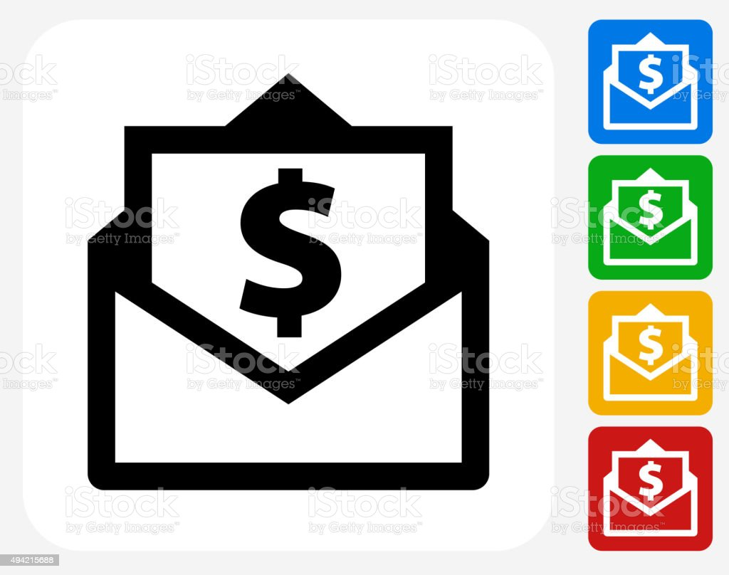 Envelope Money Icon Flat Graphic Design vector art illustration