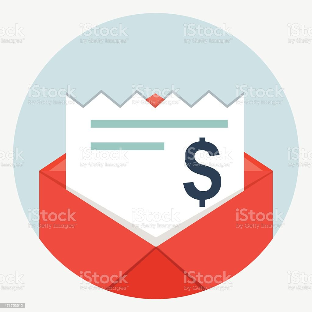 Envelope with bills icon vector art illustration