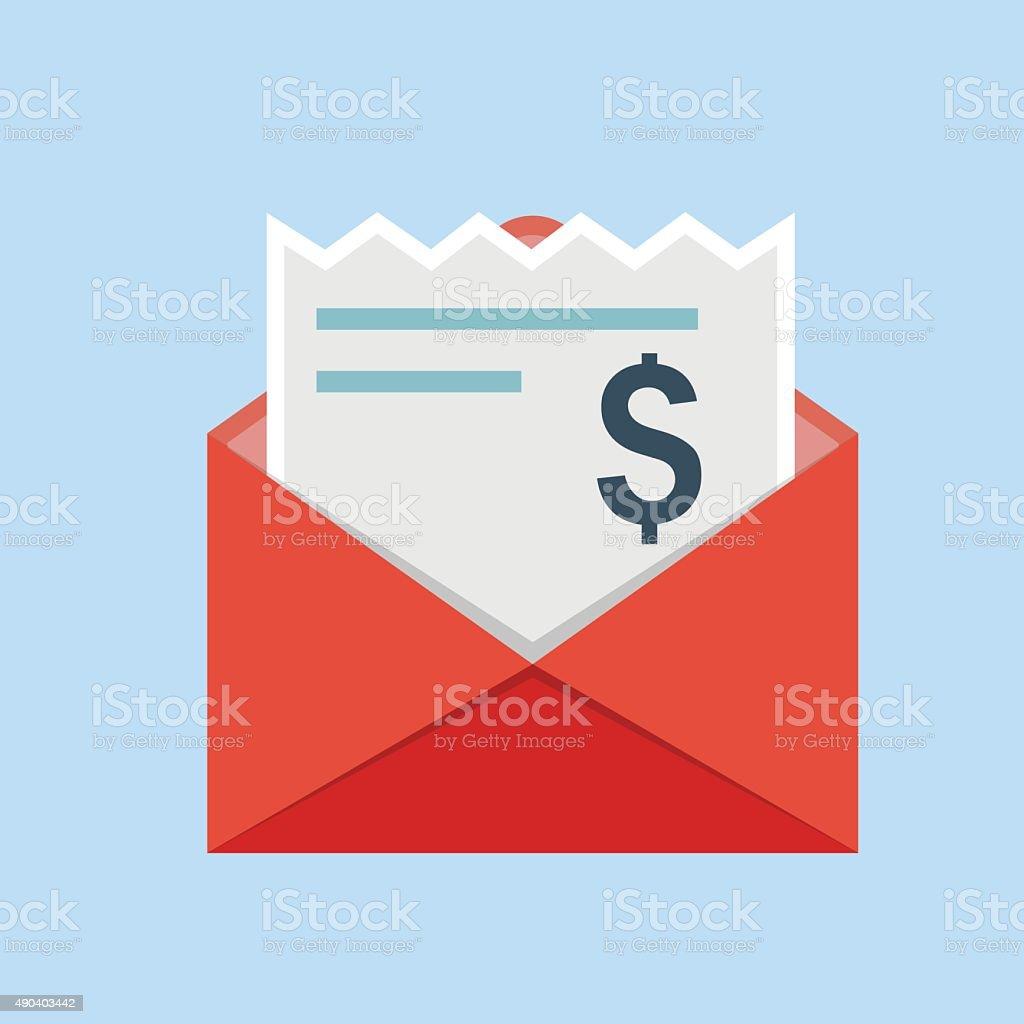 Envelope with bills icon vector art illustration