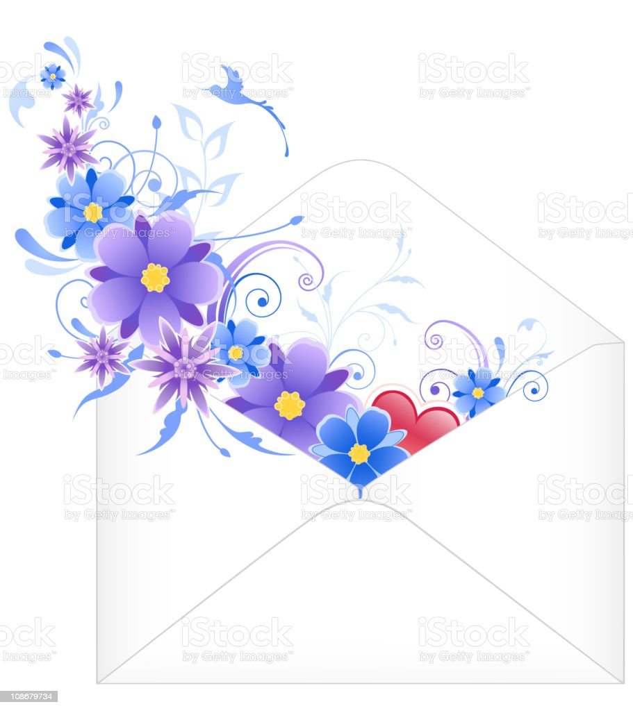 envelope with blue flowers royalty-free stock vector art